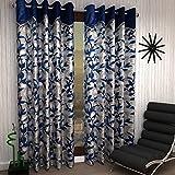 #5: Home Sizzler 2 Piece Shalimar Frill Door Curtains - 7 Feet, Blue