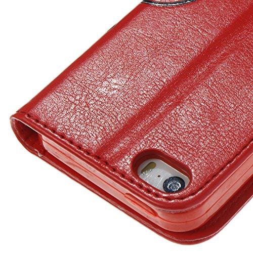 JIALUN-Telefon Fall Druck Farbe Schmetterling Blumen mit Lanyard Card Slot, Eingebaute Halterung Flat Phone Cover für IPhone 5 & 5s & SE ( Color : Rose ) Red
