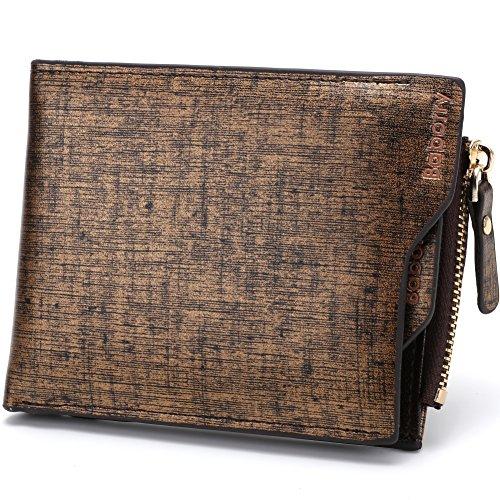 Baborry-Herren Gents Luxus Brieftasche Mit KRotitkarte ID Tasche & Reißverschluss Münztasche Grau Gold