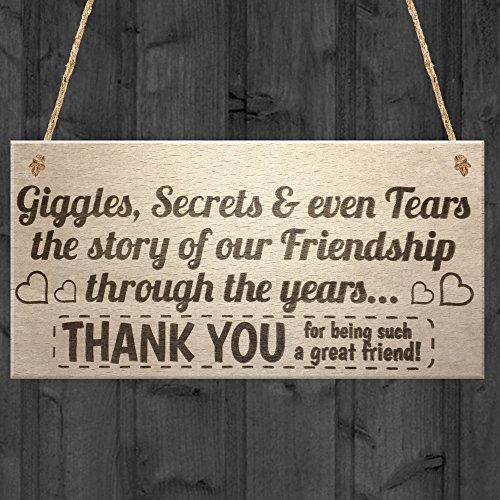 Rot Ocean Giggles Geheimnisse und Tränen Holz Hängeschild Schild Freundschaft Thank You Geschenk