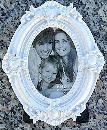MT® Nostalgie weißer Fotorahmen 11x14 Bilderrahmen Antik Polystone (oval) (14 Metall-bilderrahmen X 11)