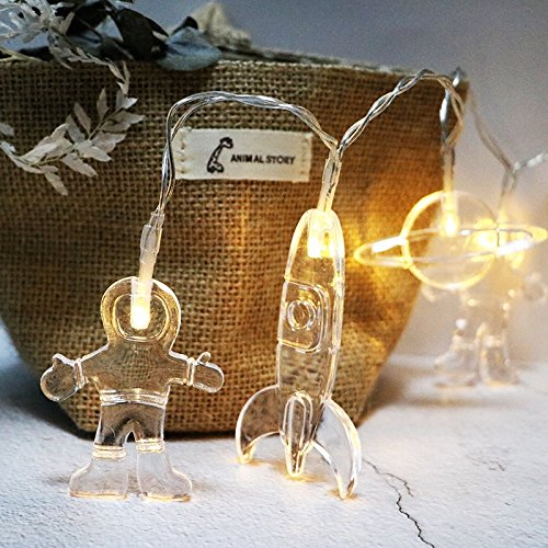 elegantstunning 2m Raumfahrer Form LED Wasserdichter Lichterketten Batteriebetriebene Beleuchtung für Party Hochzeit Herzstück Weihnachtsdekoration