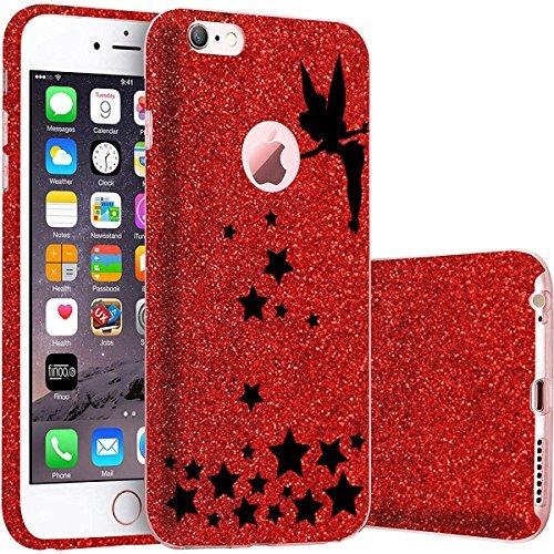 finoo | iPhone 5 / 5S Rote bedruckte Rundum 3 in 1 Glitzer Bling Bling Handy-Hülle | Silikon Schutz-hülle + Glitzer + PP Hülle | Weicher TPU Bumper Case Cover | Queen Black Fee zaubert Sterne