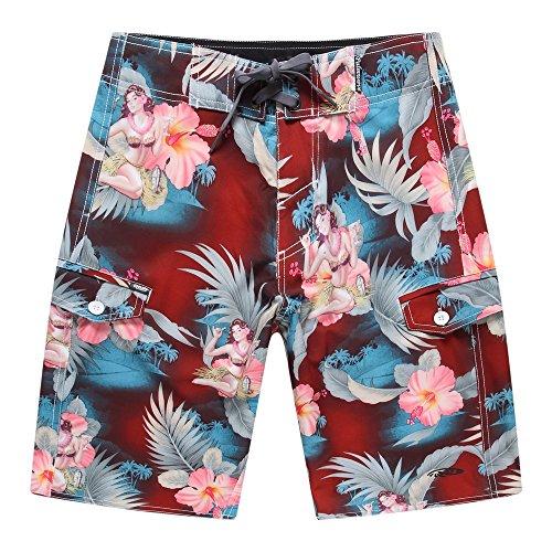 Hombres-Pantalones-cortos-con-bolsillo-para-uso-en-la-playa-en-Cctel-rojo-de-la-muchacha-de-Hula-38