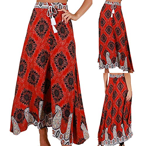 059e0889c5 Bohemio Faldas Largas Verano Mujer Cintura Alta Vendaje Botón Playa  Impresión Maxi Falda