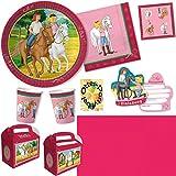 Bibi Und Tina Party-Set 77tlg. für 12 Kinder : Teller Becher Servietten Einladung Geschenkboxen Tischdecke