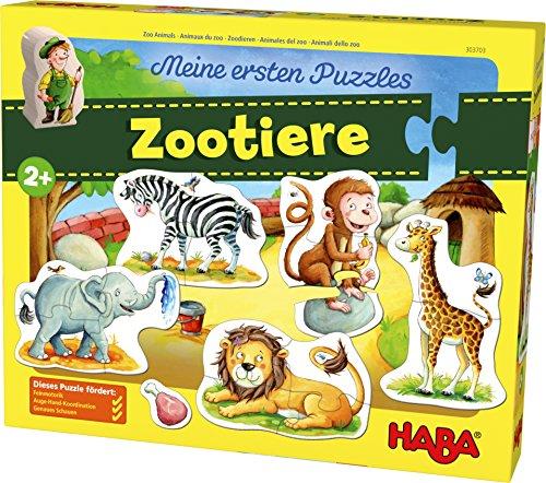 HABA 303703 - Meine ersten Puzzles – Zootiere  Kinderpuzzle mit 5 fröhlichen Tiermotiven ab 2 Jahren   Mit Zoowärterholzfigur zum freien Spielen
