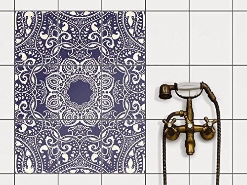 creatisto Badfliesen | Selbstklebende Fliesensticker Fliesen Tattoo Küchen-Folie Wand Deko | 20x25 cm Design Motiv Blue Mandala - 9 Stück (9 Stück Bad)
