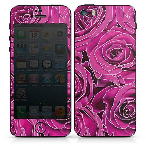 Apple iPhone SE Case Skin Sticker aus Vinyl-Folie Aufkleber Roses Pink Grafik DesignSkins® glänzend