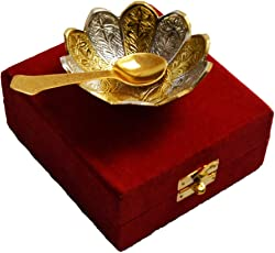 Handicraft Hub India Silver Gold Plated Floral Shape Decorative Spoon and Bowl Set for Diwali Gift Set | Set of 2 Items