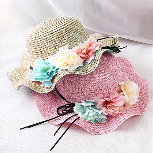 iShine Girl Sun Hat Straw Large Brim Beach Sun Hat with Flower Girl for Summer