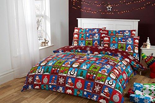 Set copripiumino in 100% cotone, rosso, motivo patchwork con soggetti natalizi, babbo natale, elfo, renna, omino di marzapane, pinguino oso polare, con fiocchi di neve sul lato interno, 100%_cotone/cotone, red, superking (260x220cm) + 2 pillowcases (45x75cm)