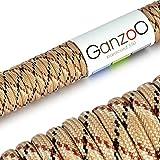 Paracord 550 Seil Camouflage | 31 Meter Nylon-Seil mit 7 Kern-Stränge | für Armband | Knüpfen von Hunde-Leine oder Hunde-Halsband zum selber machen | Seil mit 4mm Stärke | Mehrzweck-Seil | Survival-Seil | Parachute Cord belastbar bis 250kg (550lbs) beige, dunkelbraun, schwarz - Marke Ganzoo