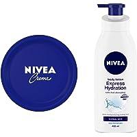 NIVEA Crème, All Season Multi-Purpose Cream, 200ml And NIVEA Body Lotion, Express Hydration, For Normal Skin, 400 ml