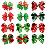 Demarkt 12 Pcs Couleur Mixte Pinces à Cheveux Papillon Noël Fille Barrettes à Cheveux pour Accessoire Cheveu Fille/Enfant