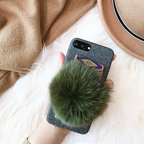 iPhone x custodia, MC Fashion Winter Soft Warm Cozy cute Fluffy Furry di visone pelliccia palla peluche morbido panno di rilascio per Apple iPhone x (2017) iPhone 7/8 Plus Lyndee