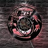 Orologio da parete in vinile 1 pezzo giocatore di hockey su ghiaccio disco in vinile orologio da parete lanciando orologio sport sagoma orologio da parete campo hockey amante regalo fan-12 pollici