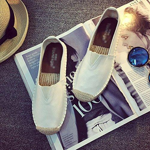 a-nam Damen Ballerinas Leinen Sohle v-upper Spitze bis Handschuh Schuhe Gummi rutschfesten Sohlen Flache Schuhe für Frühjahr und Herbst Weiß