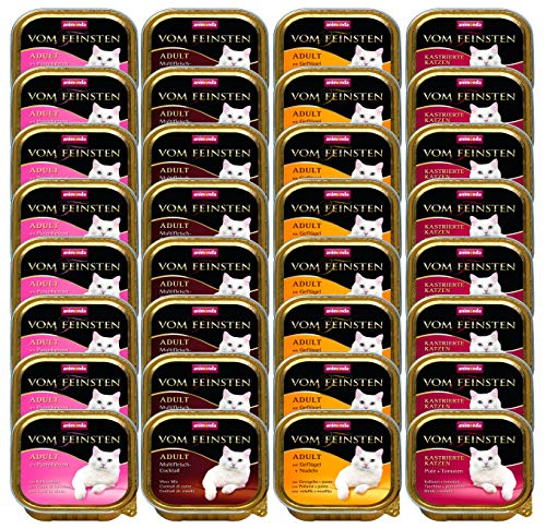 animonda vom Feinsten Adult Katzenfutter, Feuchtfutter für Katzen von 1-6 Jahren, Fleisch-Vielfalt-Mix, 32 x 100g - Futter Hühner Napf