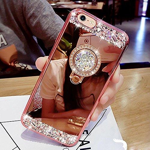 iPhone 5S Fall, iPhone SE Fall, phezen Luxus Kristall Strass Weich TPU Gummi Bumper Fall Bling Diamant Glitzer Make-up Spiegel Rückseite Fall mit Ring Ständer Halter für iPhone SE 55S rose gold