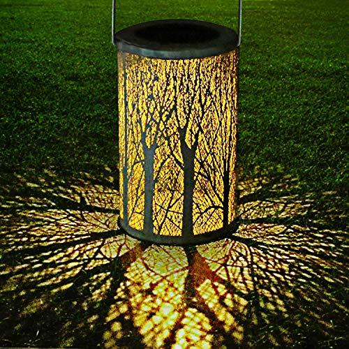Yokunat LED Solar Laterne für draußen, Solar Garten Hängende Laterne zylinderförmige Nachtlicht Wasserdicht IP44 mit Lichtempfindlichkeit -