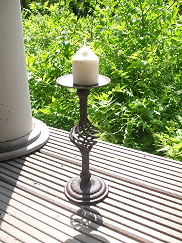 Dekorativer Kerzenständer, mediterraner Stil, Eisen massiv, rostfarben (Gusseisen-kerzenständer)
