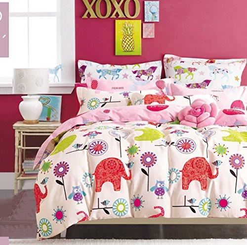 Copripiumino Singolo Gufi.Cliab Elefante Gufo Uccelli Fiori Rosa Viola Verde Per