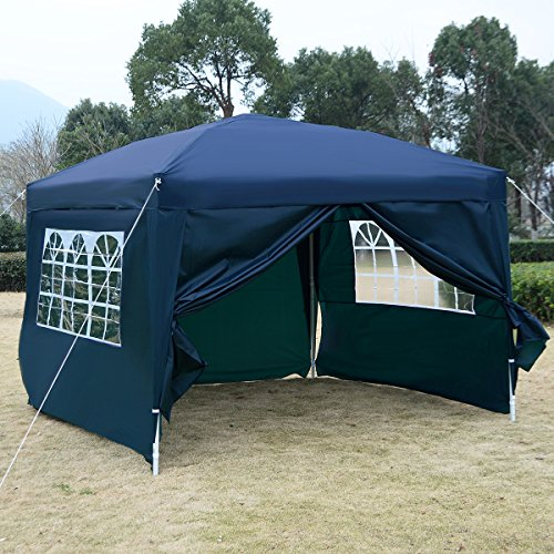COSTWAY 3X3M Wedding Canopy Pop Up Gazebo Waterproof Tent Awning Marquee W/Carry Bag (With Sidewalls & Window) (Blue)