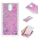 BoxTii Coque Nokia 3 [avec Gratuit Protection D'écran en Verre Trempé] Silicone TPU Bumpe Housse, Liquide Mouvant Flottant Etui Glitter Miroir de Maquillage Coque pour Nokia 3 (Pink)