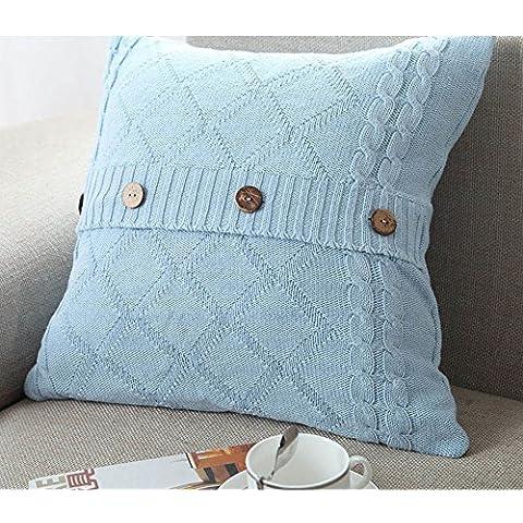 Più colore stile semplice divano cuscino/Tinta unita in cotone lavorato a maglia guanciale/semplice pulsante stile-H 45x45cm(18x18inch)VersionA