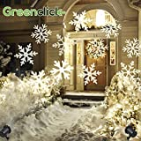 Greenclick Outdoor Projector Waterproof Moving Flurry Snowflake Spotlight LED Landscape Projector for Indoor and Outdoor Use