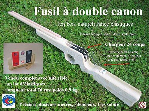 Kit loisir complet : Fusil en bois lance élastiques 24 coups double canon à répétition avec cible tournante - 24 coups