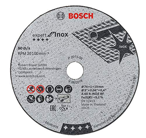 Bosch Professional 2608601520 Trennscheibe 2 608 601 520 Expert for Inox 76x1,0x10 mm (5St.), 1 W, 240 V