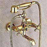 Gold Finish Wand montiert Bad Regen Dusche Wasserhahn Set Handbrause Wasserhahn , 2