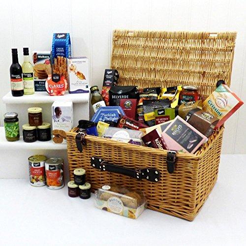 """""""Para alguien especial"""" - Cesta grande de mimbre con 40 comidas gourmet, incluidas 2 botellas de vino - Una gran idea de regalo para su cumpleaños, Navidad y boda"""