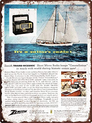 Rebecca Simpson 1956 Zenith Trans-Oceanic Short Wave Radio Metal Sign Repro 9x12 Trans-oceanic Radio