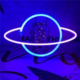 QiaoFei Led Planet Neon Light Decorative Signs Wall Decor, Battery or USB Operated Lamp Planet Neon Signs for Baby Kids Frien
