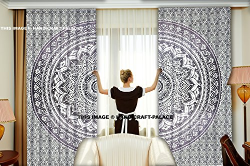"Exclusivo Ombre Mandala tapiz cortinas cortinas ventana tratamiento de Bohemia, 100% algodón hecho a mano tapiz cortinas se vende por ""handicraft-palace"""