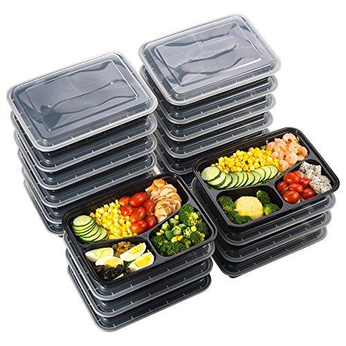 [20er Pack] 3-Fach Meal Prep Container Set, Sable Behälter zur Vorbereitung von Essen, BPA-frei Bentoboxen mit drei Bereichen, Lunch Box Set mit Deckel, wiederverwendbar, Mikrowellengeeignet (Wort Essen)