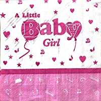 AEX A Little Baby Girl Birthday Dinner Party Napkins Serviettes Tableware Party Supplies (Pink)
