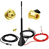 Eightwood DAB Auto Antenne DAB Autoradio Antennesplitter Versterkte SMB Adapter Digitale DAB met 5M 16.4ft Verlengkabel Compa