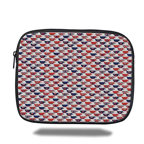 Tablet Bag for Ipad air 2/3/4/mini 9.7 inch,London,Tea Party Theme Flag Pattern Cups Traditional Drink Independence Day Decorative,Navy Blue Vermilion White,Bag - Navy Bean Bag
