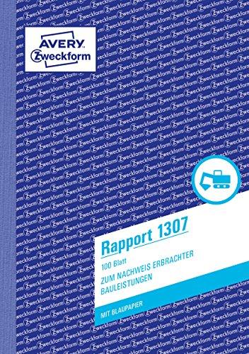 AVERY Zweckform 1307 Rapport (A5, mit 2 Blatt Blaupapier, 100 Blatt) weiß