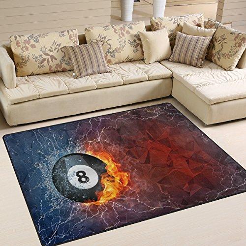 Domoko Billard Ball auf Feuer und Wasser Abstrakt Bereich Teppich Teppiche Matte für Wohnzimmer Schlafzimmer, Textil, Mehrfarbig, 160cm x 122cm(5.3 x 4 feet)