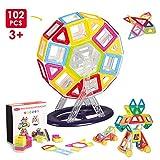 Miric Magnetische Bausteine, 102PCS DIY kreativ Konstruktion Blöcke Haus Turm Auto mit Rädern Lernspielzeug für Kinder