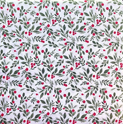 White Pine Bedding 4-teiliges Bettwäsche-Set für King-Size-Bett, extra Tiefe Taschen, Winter, Urlaub, Weihnachten, mit roten Beeren, grünen Blättern, Mistelzweig auf Weiß