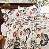 Kina (begriffsklärung) Leinen 3Stück Floral Bettbezug-Set, Luxus Weiche gebürstete Mikrofaser Stoff, Full Queen Size, Creme Farbe, Mikrofaser, cremefarben, Full/Queen