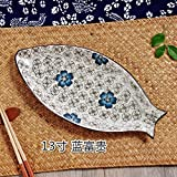 KXZDAS Unterglasur keramische Platten Home Fischteller Teller größe Fisch-förmige Platte Teller Creative Geschirr Teller 13 Zoll blau-silbernen Löffel
