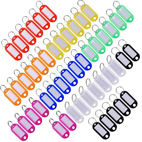 30pcs colori assortiti plastica Portachiavi Bagagli ID Label Tag Split anello con etichetta Finestra per identificare la tua Chiave