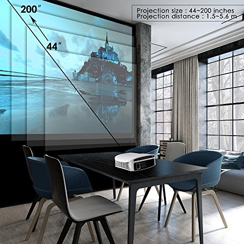 61btCxIeLEL. SS500  - ELEPHAS Projector, 5000 Lumens HD Video Projector 200'' Home Cinema LCD Movie Projector Full HD 1080p HDMI VGA Av USB Ideal for Home Entertainment Party Games, White